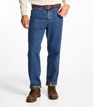 Flannel-Lined Double L Jeans, Relaxed Fit, Men's