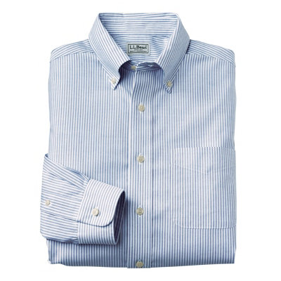 Wrinkle-Resistant Classic Oxford Cloth Shirt, Long-Sleeve Stripe