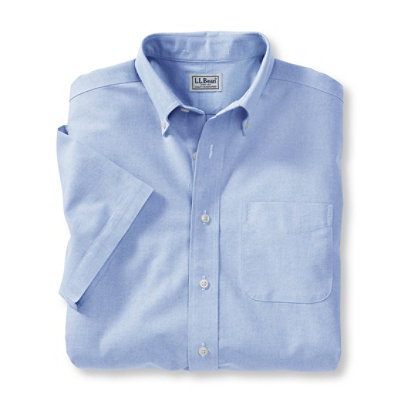 Wrinkle-Resistant Classic Oxford Cloth Shirt, Traditional Fit Short-Sleeve