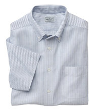 Wrinkle-Resistant Classic Oxford Cloth Shirt, Traditional Fit Short-Sleeve University Stripe