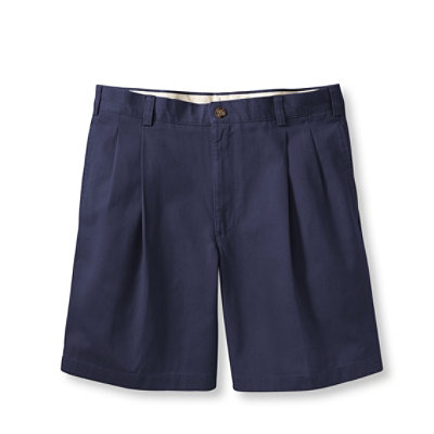 "Wrinkle Resistant Double L Chino Shorts, Pleated 8"" Inseam"