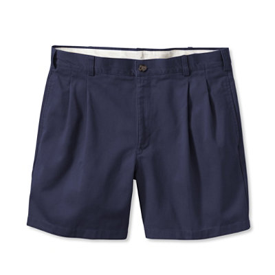 "Wrinkle-Resistant Double L� Chino Shorts, Natural Fit Pleated 6"" Inseam"