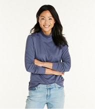 Pima Cotton Stand-Up Neck, Long-Sleeve