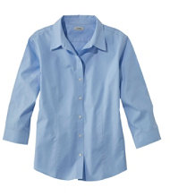 Wrinkle-Resistant Pinpoint Oxford Shirt, Three-Quarter Sleeve