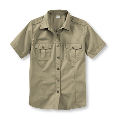 Women's Cotton Poplin Field Shirt, Short-Sleeve