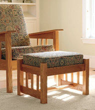 Morris Chair Footstool with Chenille Tapestry