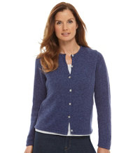 Marled Cotton Sweater, Button-Front Cardigan