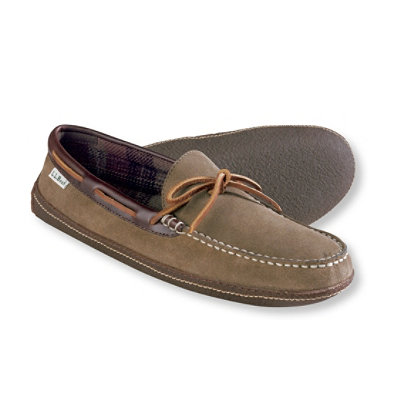 Men's Handsewn Slippers, Suede Flannel-Lined