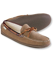 Men's Handsewn Slippers, Suede Fleece-Lined
