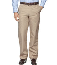Men's Easy-Care Bush Poplin Pants, Classic Fit Plain Front