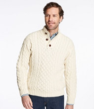 Irish Fisherman's Sweater, Button-Mock
