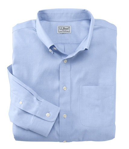 Men 39 s wrinkle free pinpoint oxford cloth shirt slightly for Ll bean wrinkle resistant shirts