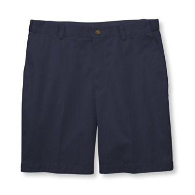 "Double L Chino Shorts, Hidden Comfort Waist Plain Front 8"" Inseam"