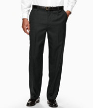 Year-Round Wool Trousers, Natural Fit Hidden Comfort Plain Front