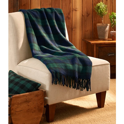 "Bean's Washable Wool Throw, Plaid 54"" x 60"""