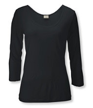 Silk Pointelle, Three-Quarter Sleeve Low Scoopneck