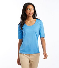Pima Cotton Scoopneck, Elbow-Sleeve