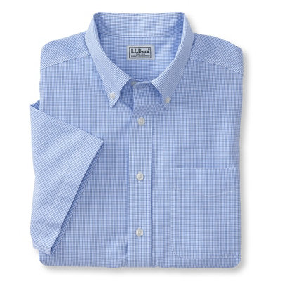 Wrinkle-Resistant Vacationland Sport Shirt, Traditional Fit Short-Sleeve Mini Check