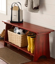 Rustic Wooden Mudroom Bench