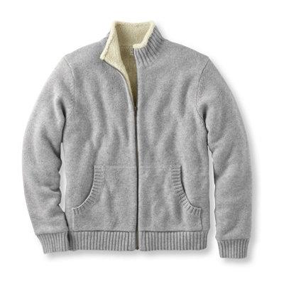 Sherpa Fleece-Lined Sweater, Full Zip