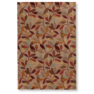 Wool Hooked Rug, Woodland Leaves