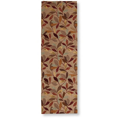 "Wool Hooked Rug, Runner Woodland Leaves 2' 6"" x 8'"