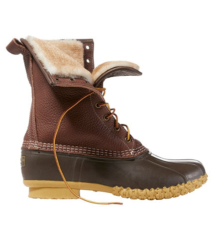 s tumbled leather l l bean boots 10 shearling lined