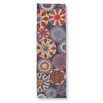 "Easy-Care Hooked Suzani Rug, Runner 2'3"" x 7'6"""