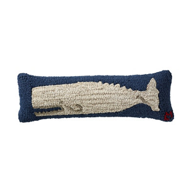Wool Hooked Throw Pillow, White Whale