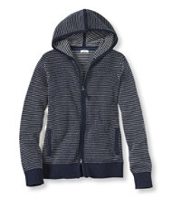 Cotton/Cashmere Sweater, Waffle Hoodie Bird's-Eye