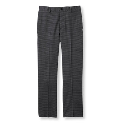 Washable Year-Round Wool Pants, Classic Fit, Plain Front Houndstooth