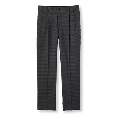 Washable Year-Round Wool Pants, Classic Fit, Pleated Houndstooth
