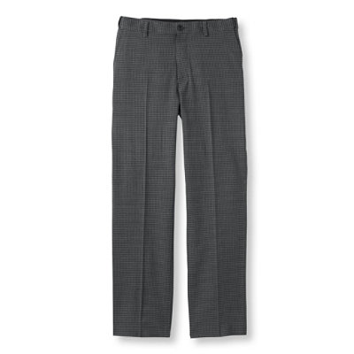 Washable Year-Round Wool Pants, Hidden Comfort Waist Plain Front, Houndstooth