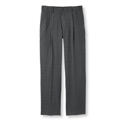 Washable Year-Round Wool Pants, Hidden Comfort Waist Pleated, Houndstooth