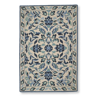 Wool Hooked Rug, Cottage Floral