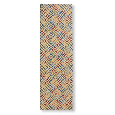 "Wool Hooked Rug, Runner Star Tile 2'6"" x 8'"