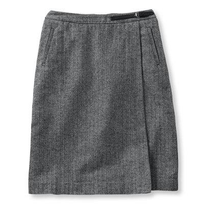 Weekend Faux Wrap Skirt, Herringbone