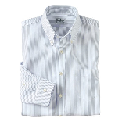 Wrinkle-Resistant Pinpoint Oxford Cloth Shirt, Slim Fit Stripe