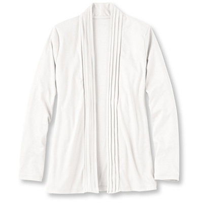 Pima Cotton Pin-Tucked Open Cardigan