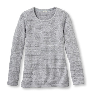 Marled Cotton Sweater, Ottoman-Stitch Pullover Stripe