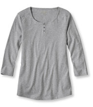 Double L Rib-Knit Tee, Three-Quarter-Sleeve Henley