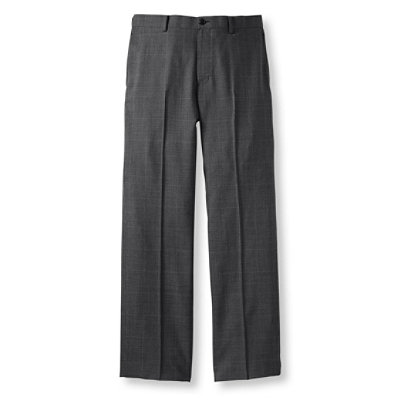 Washable Year-Round Wool Pants, Classic Fit Plain Front, Plaid