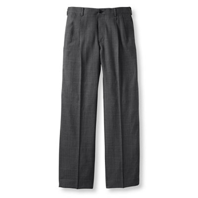 Washable Year-Round Wool Pants, Classic Fit Pleated Plaid