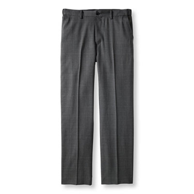 Washable Year-Round Wool Pants, Hidden Comfort Waist Plain Front Plaid