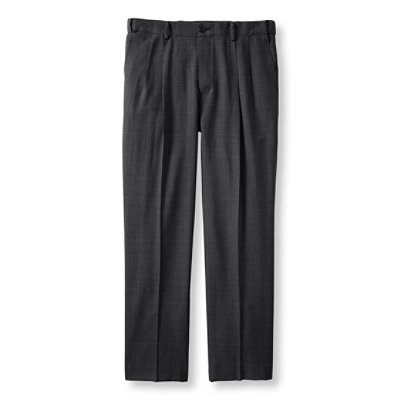 Washable Year-Round Wool Pants, Hidden Comfort Waist Pleated Plaid