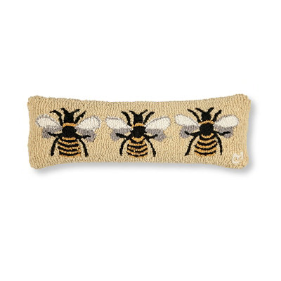Wool Hooked Throw Pillow, Bumblebee