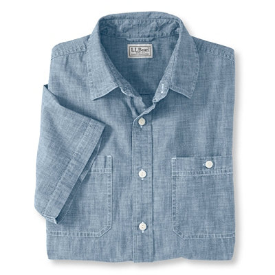 Lakewashed Chambray Shirt,Slightly Fitted Short-Sleeve