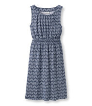 Pleated Knit Dress, Fan Print
