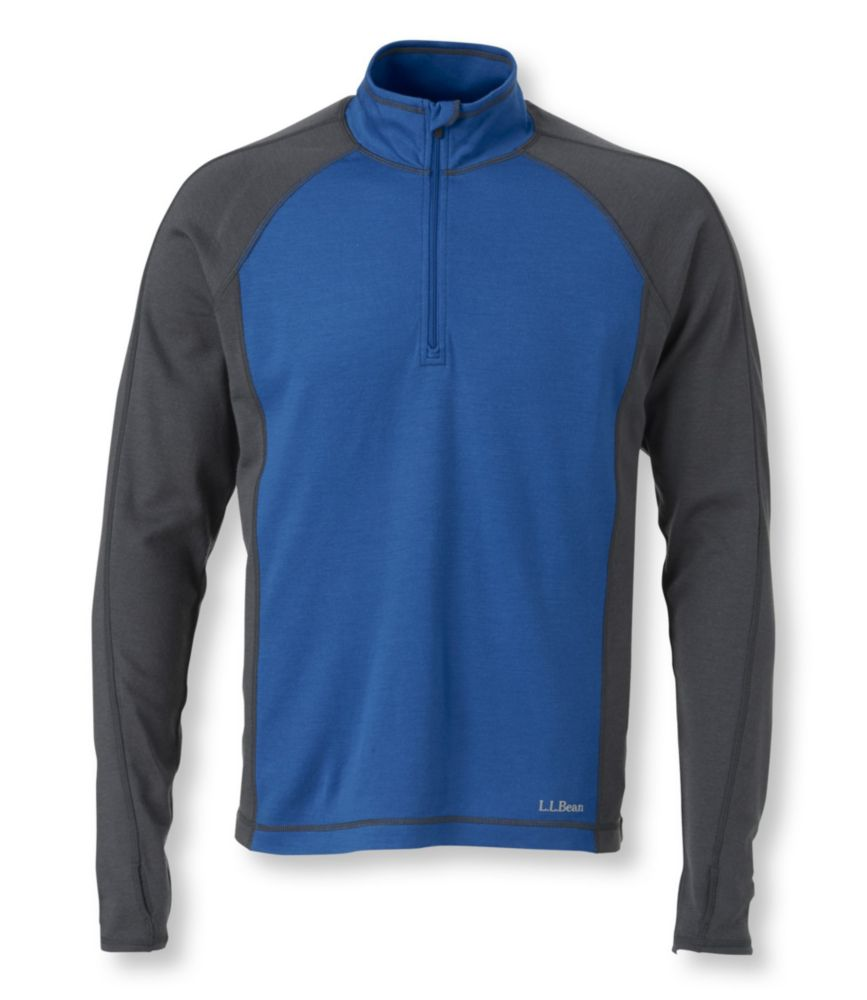 photo: L.L.Bean Men's Cresta Wool Midweight Base Layer, Quarter-Zip
