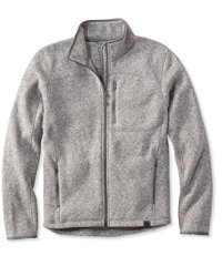 Bean's Men's Gray Heather Sweater Fleece Full-Zip Jacket
